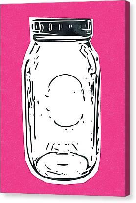 Jars Canvas Print - Mason Jar Hot Pink- Art By Linda Woods by Linda Woods
