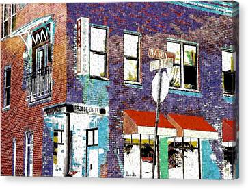 Mason Street And Cherry Canvas Print by Jeff Gibford
