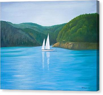 Mason's Sailboat Canvas Print by Stephen Degan