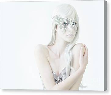 Masquerade In White Canvas Print