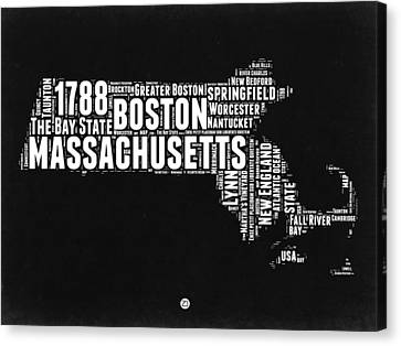 Massachusetts Black And White Word Cloud Map Canvas Print by Naxart Studio