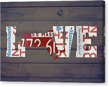 Massachusetts Canvas Print - Massachusetts State Love License Plate Art Phrase by Design Turnpike
