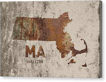 Rust Canvas Print - Massachusetts State Map Industrial Rusted Metal On Cement Wall With Founding Date Series 016 by Design Turnpike