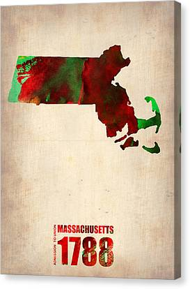 World Map Canvas Print - Massachusetts Watercolor Map by Naxart Studio
