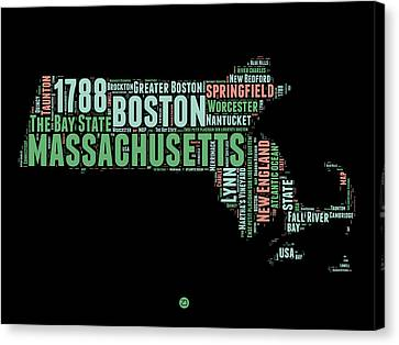 Boston Canvas Print - Massachusetts Word Cloud Map 1 by Naxart Studio