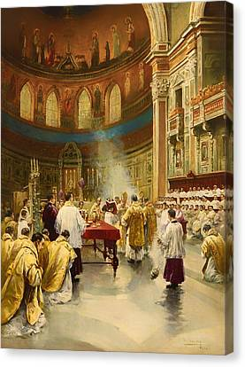 Masses In St. John Lateran In Rome Canvas Print by Mountain Dreams