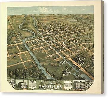 Massillon Ohio 1870 Canvas Print by Mountain Dreams