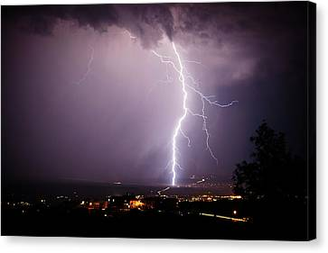 Canvas Print featuring the photograph Massive Lightning Storm by Ron Chilston