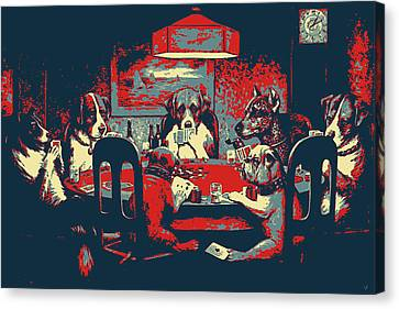 Canvas Print featuring the digital art Masterpieces Revisited - Dogs Playing Poker - A Friend In Need By C. M. Coolidge by Serge Averbukh