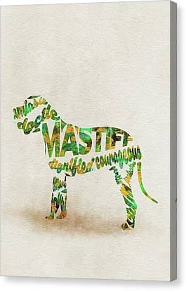 Mastiff Dog Watercolor Painting / Typographic Art Canvas Print
