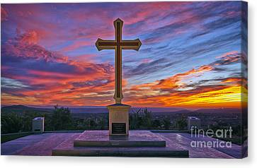 Christian Cross And Amazing Sunset Canvas Print by Sam Antonio Photography