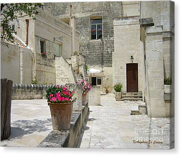 Matera With Flowers Canvas Print by Italian Art