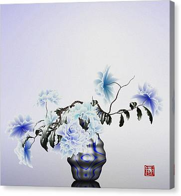 Math Flowers In Blue 2 Canvas Print by GuoJun Pan