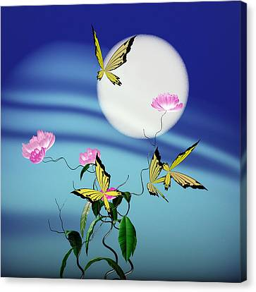 Math Peony And Butterfly Canvas Print by GuoJun Pan