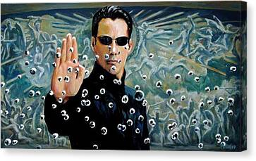Keanu Canvas Print - Matrix by Selahsess Trade