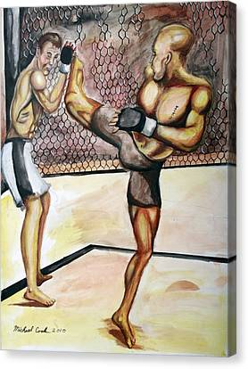 Matt Hughes Vs.georges St-pierre Canvas Print by Michael Cook
