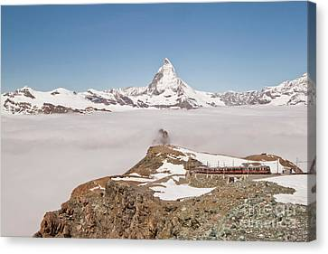 Matterhorn And Fog Canvas Print by Christine Amstutz