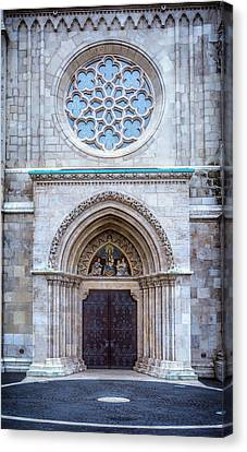 Matthias Church Rose Window And Portal Canvas Print by Joan Carroll