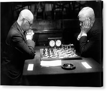 Mature Men Playing Chess, Profile (b&w) Canvas Print by Hulton Archive