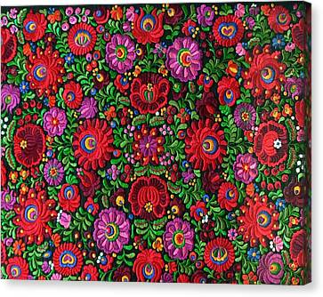 Motifs Canvas Print - Matyo Hungarian Magyar Folk Embroidery Detail by Andrea Lazar