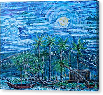 Man In The Moon Canvas Print - Maui Pearl Moon by Podge Elvenstar