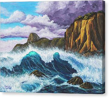 Canvas Print featuring the painting Maui Rugged Coast  by Darice Machel McGuire