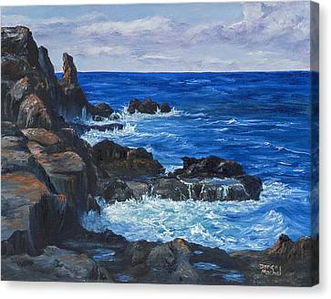 Canvas Print featuring the painting Maui Rugged Coastline by Darice Machel McGuire