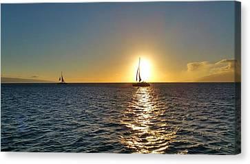 Maui Sailboat Sunset Canvas Print by Stacia Blase