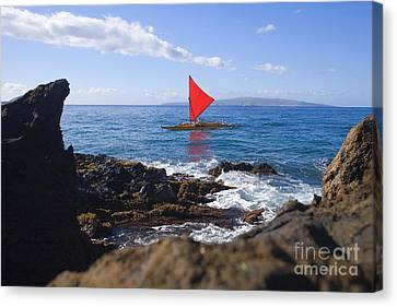 Maui Sailing Canoe Canvas Print by Ron Dahlquist - Printscapes