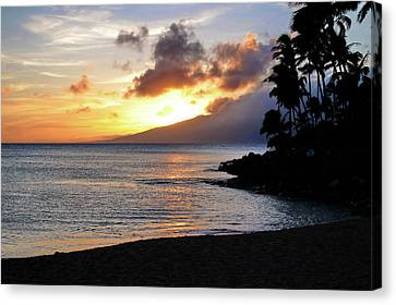 Canvas Print featuring the photograph Maui Sunset Aglow by Rau Imaging