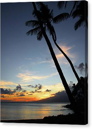 Canvas Print featuring the photograph Maui Sunset With Palm Trees by Rau Imaging