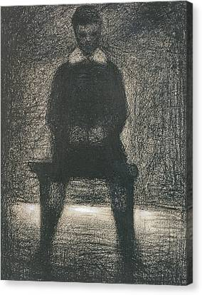 Maurice Appert Seated Canvas Print by Georges Pierre Seurat