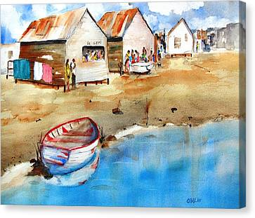 Mauricio's Village - Beach Huts Canvas Print by Carlin Blahnik