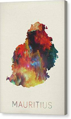 Mauritius Canvas Print - Mauritius Watercolor Map by Design Turnpike