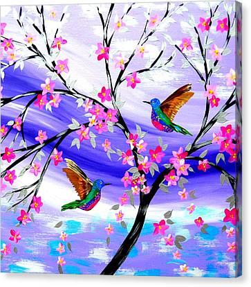Mauve Fantasy With Sakura Canvas Print by Cathy Jacobs