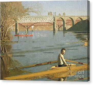 1916 Canvas Print - Max Schmitt In A Single Scull by Thomas Eakins