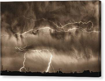 Unusual Lightning Canvas Print - May Showers - Lightning Thunderstorm Sepia Hdr by James BO  Insogna