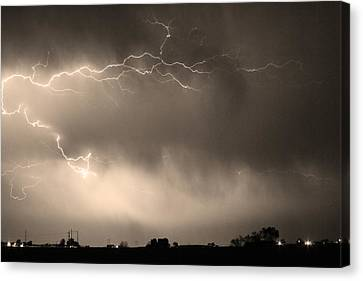 May Showers 2 In Sepia - Lightning Thunderstorm 5-10-2011   Canvas Print by James BO  Insogna