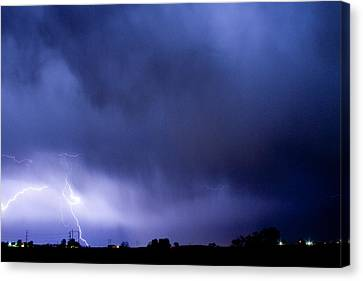 The Lightning Man Canvas Print - May Showers 3 In Color - Lightning Thunderstorm 5-10-2011 Boulde by James BO  Insogna