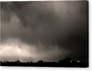 May Showers 3 In Sepia - Lightning Thunderstorm 5-10-2011 Boulde Canvas Print by James BO  Insogna