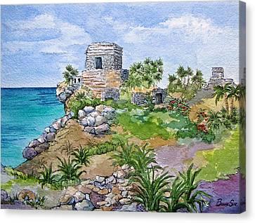 Ruins Canvas Print - Mayan Ruins At Tulum by Bonnie Sue Schwartz