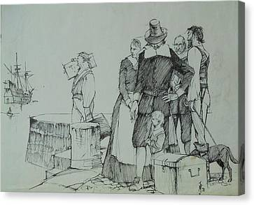 Canvas Print featuring the drawing Mayflower Departure. by Mike Jeffries