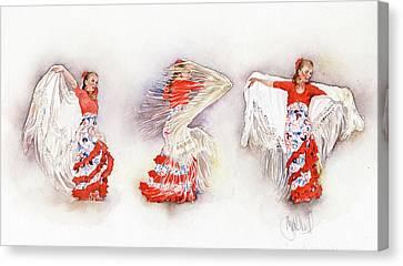 Mayte Beltran Dancing The Flamenco With Shawl Canvas Print