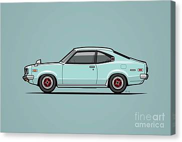 Mazda Savanna Gt Rx-3 Baby Blue Canvas Print by Monkey Crisis On Mars