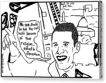 Maze Cartoon Of Obama On Building Ground Zero Mosque And Jerusalem Canvas Print by Yonatan Frimer Maze Artist