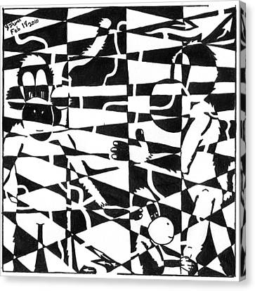 Maze Memoirs Of The Invisible Monkeys Canvas Print by Yonatan Frimer Maze Artist