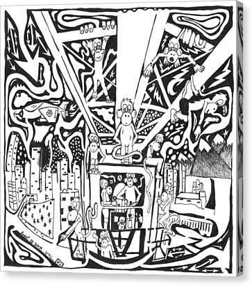Maze Of Team Of Monkeys - Operating A Tower Crane Canvas Print by Yonatan Frimer Maze Artist