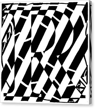 Maze Of The Letter R Canvas Print by Yonatan Frimer Maze Artist