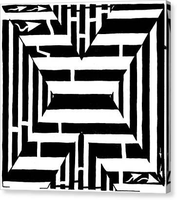 Maze Of The Letter X Canvas Print by Yonatan Frimer Maze Artist