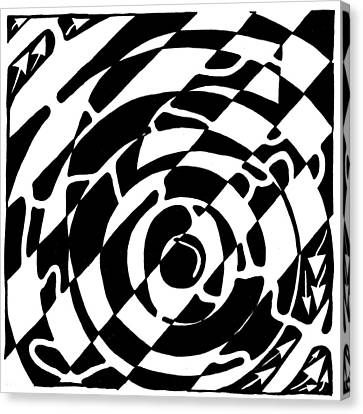 Maze Of The Number Six Canvas Print by Yonatan Frimer Maze Artist